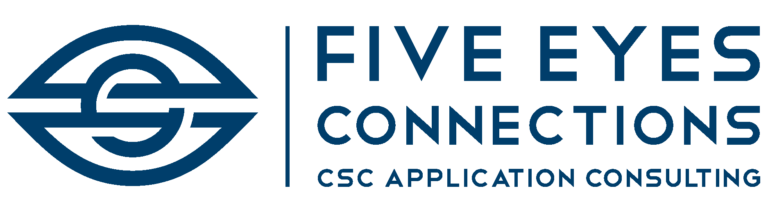 Five Eyes Connections Logo Blue text